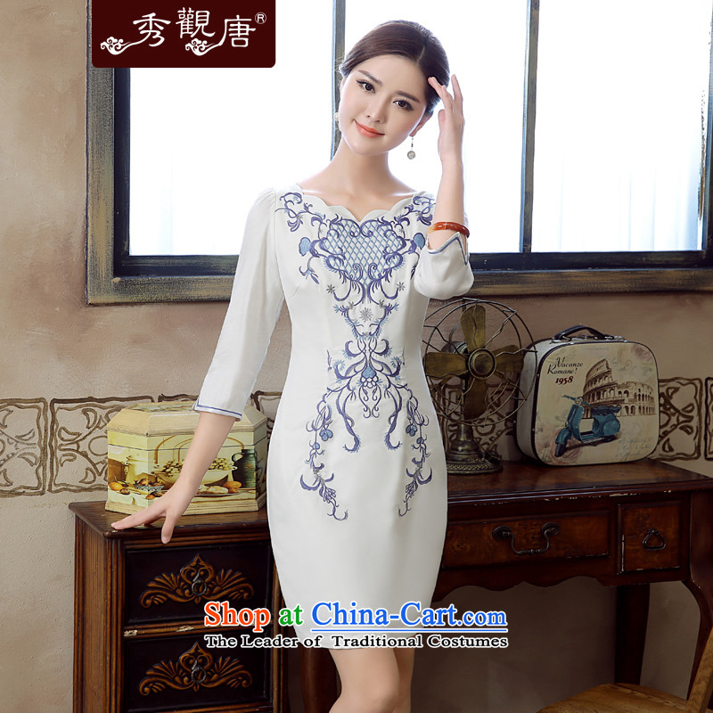 -Sau Kwun Tong- after the fall of 2015, a new feathers, exquisite embroidery irrepressible temperament improved cheongsam dress KZ5612 white燬
