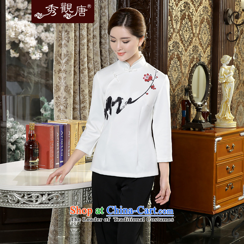 -Sau Kwun Tong- Print MUI Pack autumn 2015 Ms. New Tang Dynasty Chinese qipao shirt TC5637 improved retro white燣