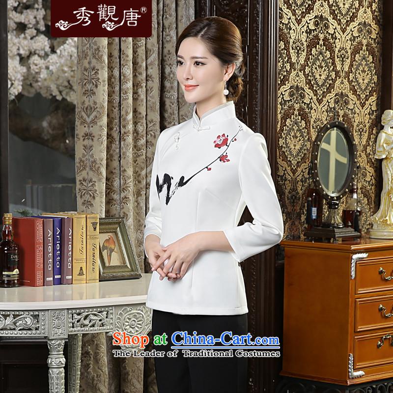 [Sau Kwun Tong] Print MUI Pack autumn 2015 Ms. New Tang Dynasty Chinese qipao shirt TC5637 improved retro white聽L, Sau Kwun Tong shopping on the Internet has been pressed.