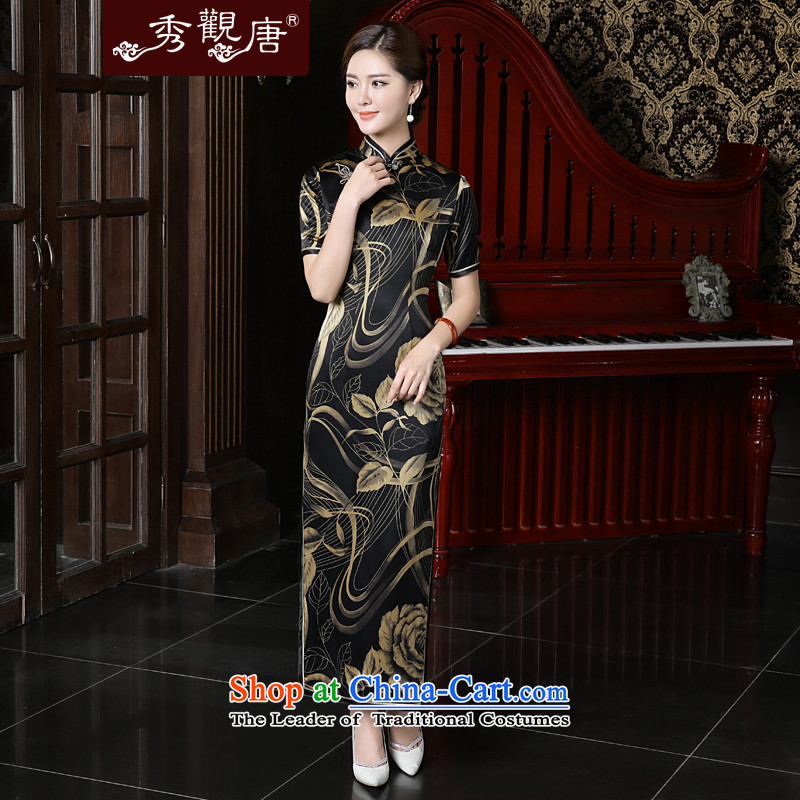 -Sau Kwun Tong- Mudan 2015 Summer Chin New Silk Cheongsam upscale herbs extract long cheongsam dress QD56 SUIT燲XL