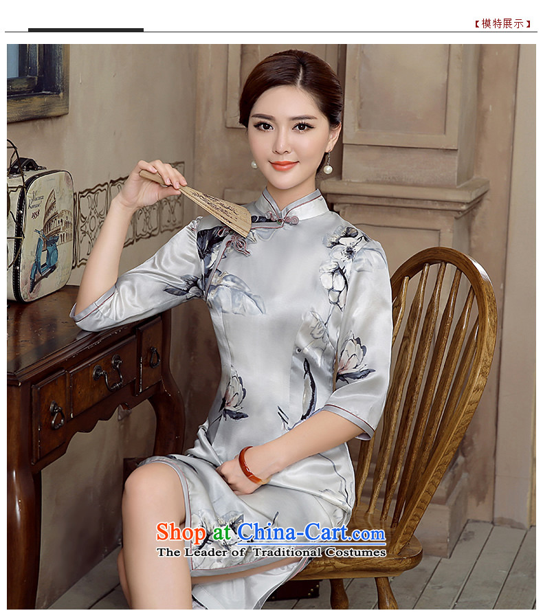[Sau Kwun Tong] Nick of 2015 Summer new retro silk herbs extract in stylish cheongsam dress QZ5620 sleeved gray S picture, prices, brand platters! The elections are supplied in the national character of distribution, so action, buy now enjoy more preferential! As soon as possible.