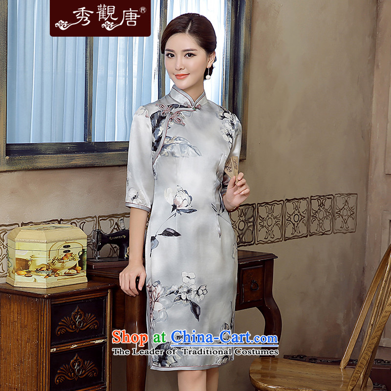 [Sau Kwun Tong] Nick of 2015 Summer new retro silk herbs extract in stylish cheongsam dress QZ5620 sleeved gray?S