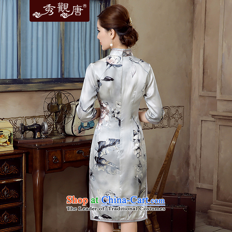[Sau Kwun Tong] Nick of 2015 Summer new retro silk herbs extract in stylish cheongsam dress QZ5620 sleeved gray S, Sau Kwun Tong shopping on the Internet has been pressed.