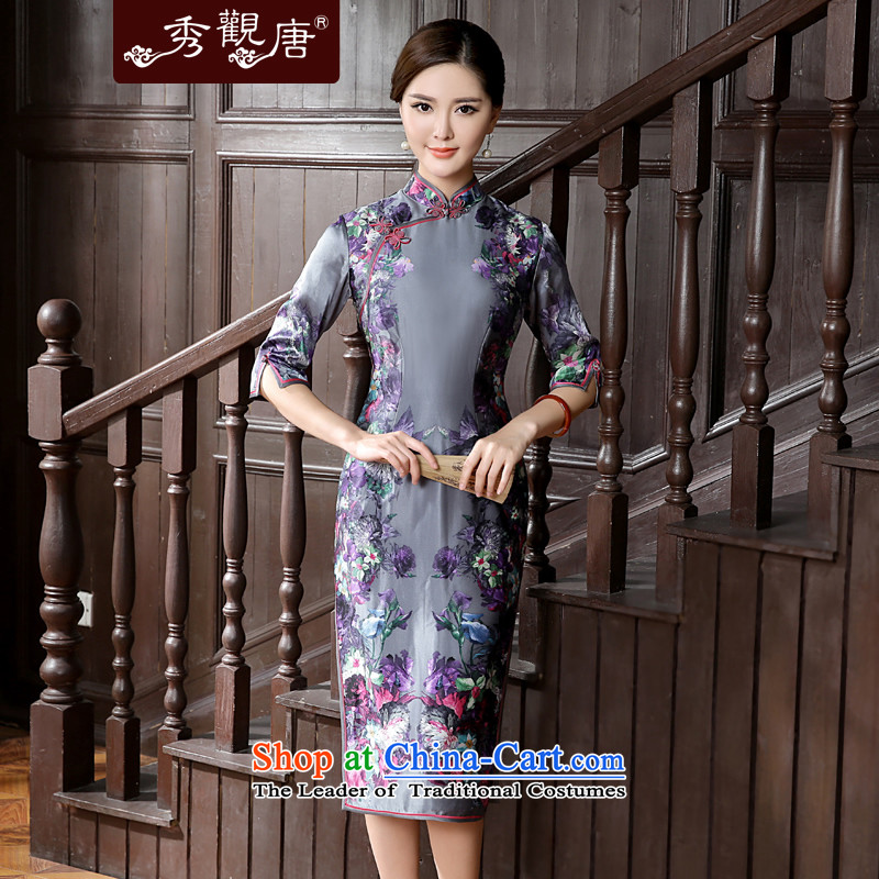 -Sau Kwun Tong- Flower Yat Summer 2015 new high-end silk herbs extract in long antique dresses QZ5630 Suit聽M