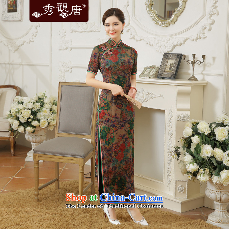 -Sau Kwun Tong- Chih-mei 2015 Summer new high-end silk herbs extract long dresses qipao QD5604 SUIT燲L
