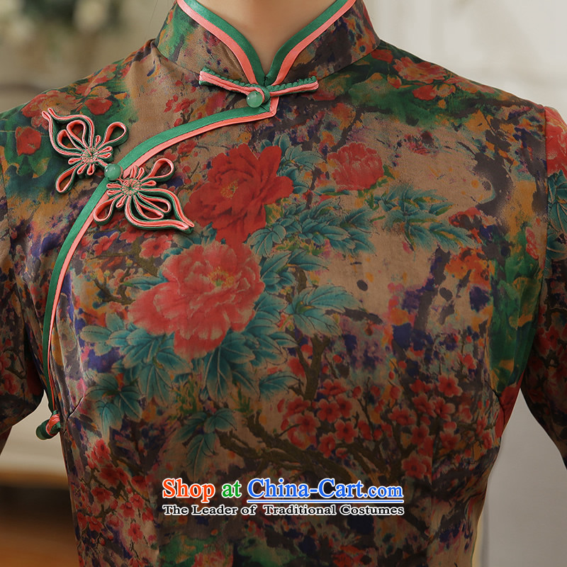 [Sau Kwun Tong] Chih-mei 2015 Summer new high-end silk herbs extract long dress suit XL, Soo QD5604 qipao Kwun Tong shopping on the Internet has been pressed.