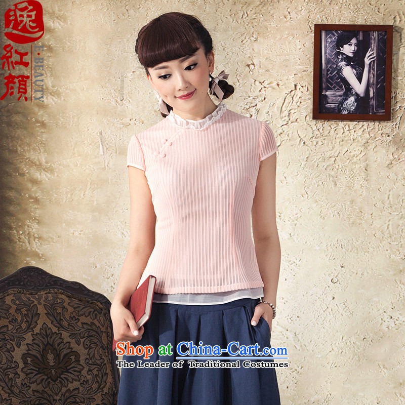 A Pinwheel Without Wind Light in the event of Qipao Yat shirt Summer 2015 China wind Sau San knitting engraving cheongsam pink shirt?XL