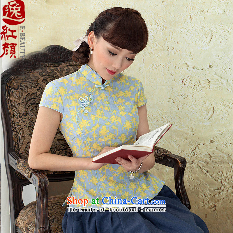 A Pinwheel Without Wind Yat Sweet Dreams Tang dynasty female summer shirt rayon stamp Sau San ethnic yellow shirt cheongsam燤