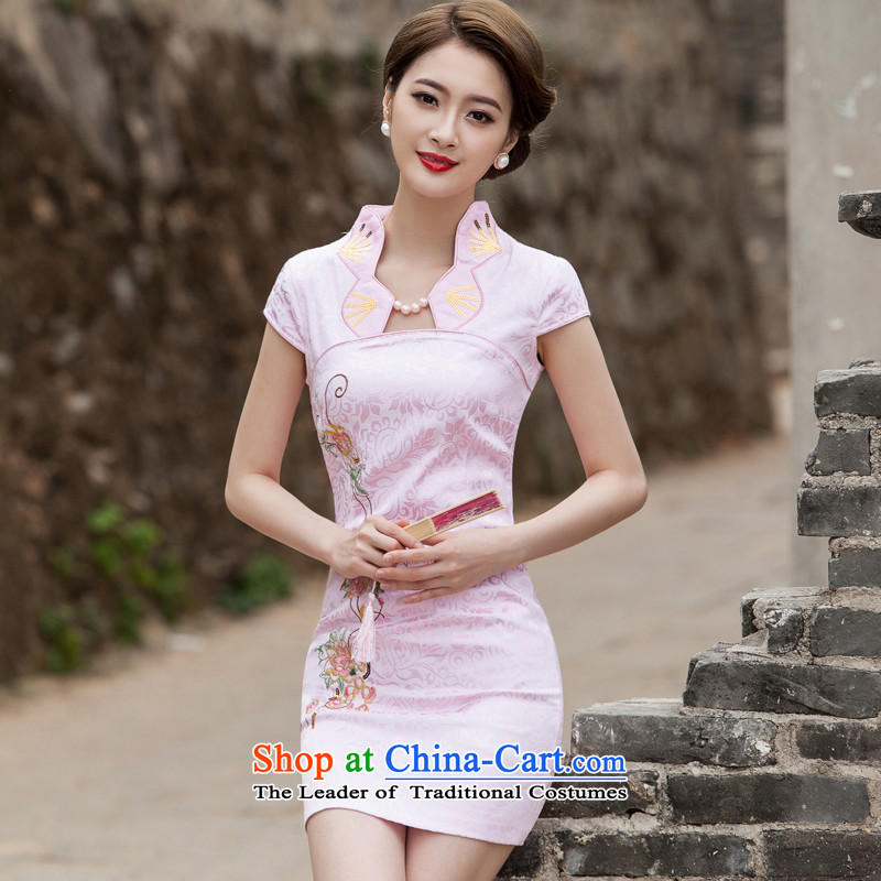 The new 2015 qipao summer short of improved graphics thin retro Sau San dresses female daily cheongsam dress Tang dynasty pink?XXL