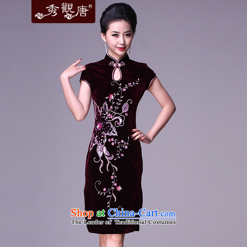 Sau Kwun Tang Hoi-pole star manually staple bead scouring pads qipao/improvements in mother spring long evening dresses G78228 wine red short-sleeved?S