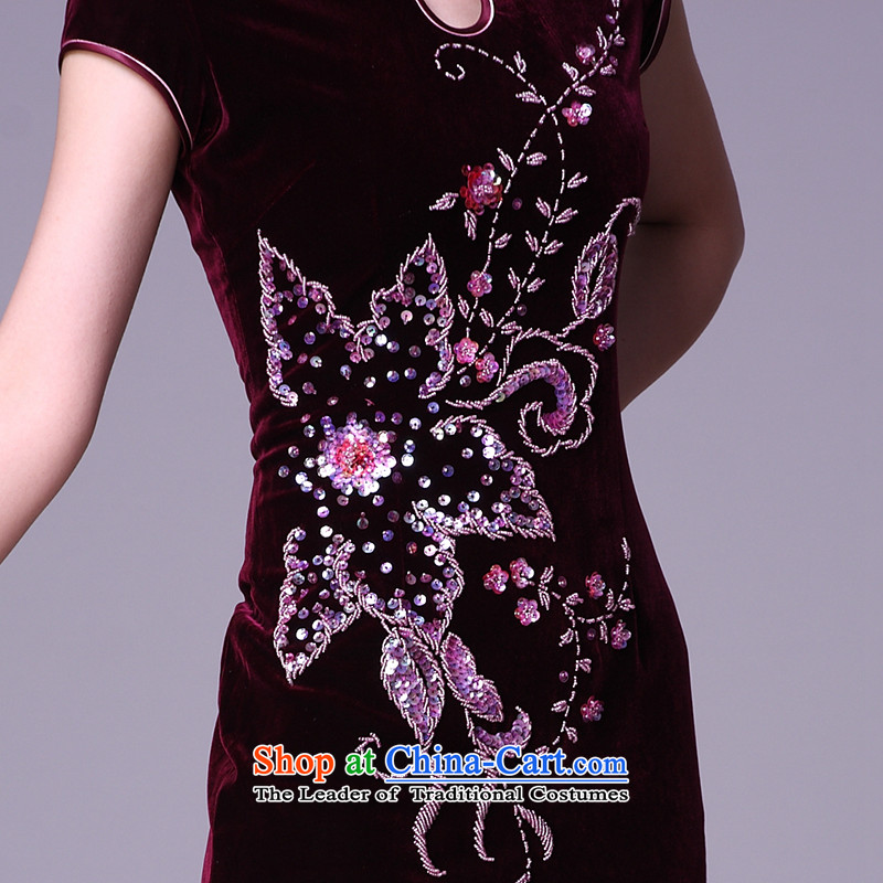 Sau Kwun Tang Hoi-pole star manually staple bead scouring pads qipao/improvements in mother spring long evening dresses G78228 wine red short-sleeved聽S, Sau Kwun Tong shopping on the Internet has been pressed.