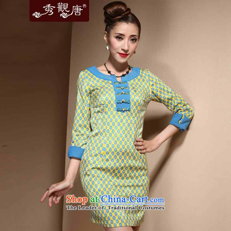 [Sau Kwun Tong] Director Mr Ngan Chun in long-sleeved qipao?2015 new improvement in women's Stylish retro dresses blue?XXL