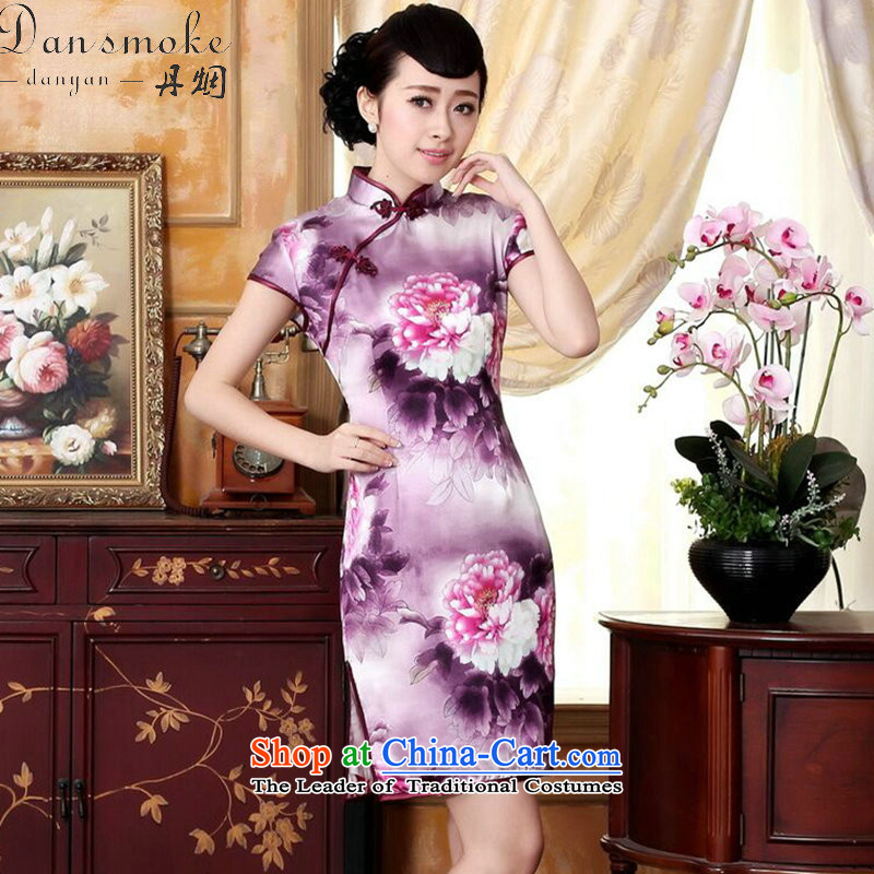 Dan smoke Silk Cheongsam summer improved women's clothes peony herbs extract positioning poster stretch of short cheongsam,聽M