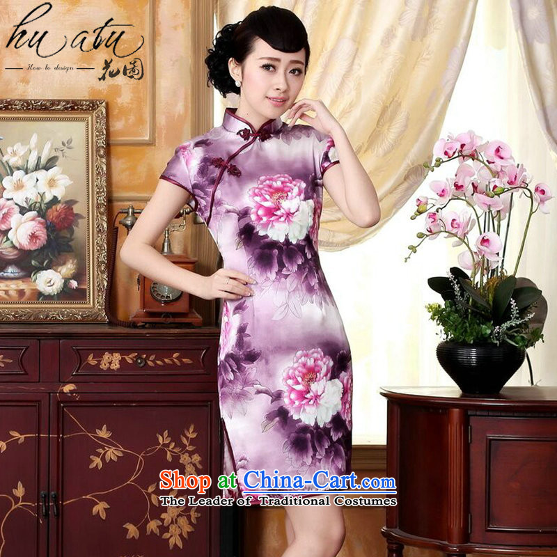 It improved silk cheongsam dress summer peony herbs extract positioning poster stretch of short cheongsam, L
