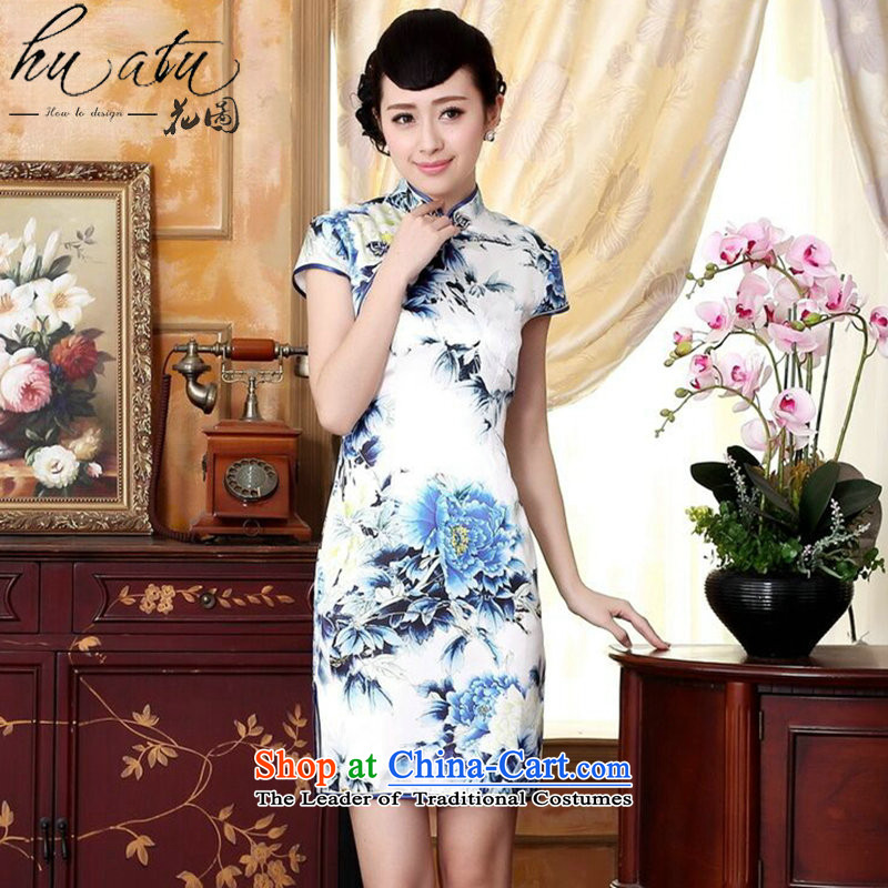 Floral autumn colors pure silk positioning of Mudan Elastic satin poster short qipao Chinese herbs extract improved collar blue qipao Ling聽S