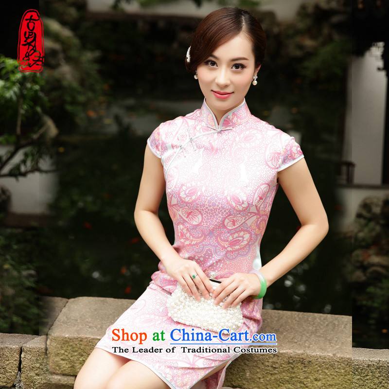 The Wu female red 2015 new summer short of Qipao Sau San-to-day Women's Sleeveless Silk Cheongsam short skirt�S
