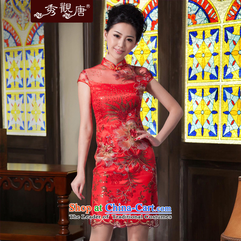 Sau Kwun Tong was accompanied by a lifetime marriages cheongsam red lace short) bows Services?2015 Skirt Red Dress retro?XXL