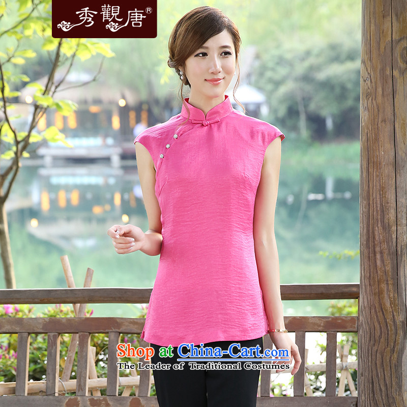Sau Kwun Tong clearly color China wind spring 2015 T-shirt qipao Ms. Tang Dynasty Chinese women G13518 improved pink XL