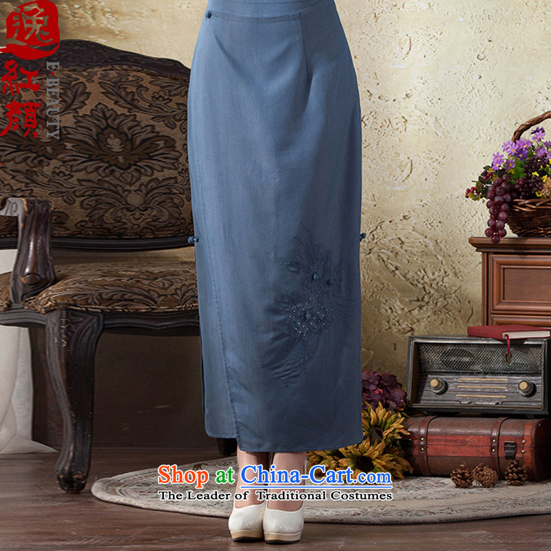 A Pinwheel Without Wind Siu Yat ink long skirt�2015 Autumn body New China wind to Sau San on the forklift truck solid color cheongsam dress blue-gray�L