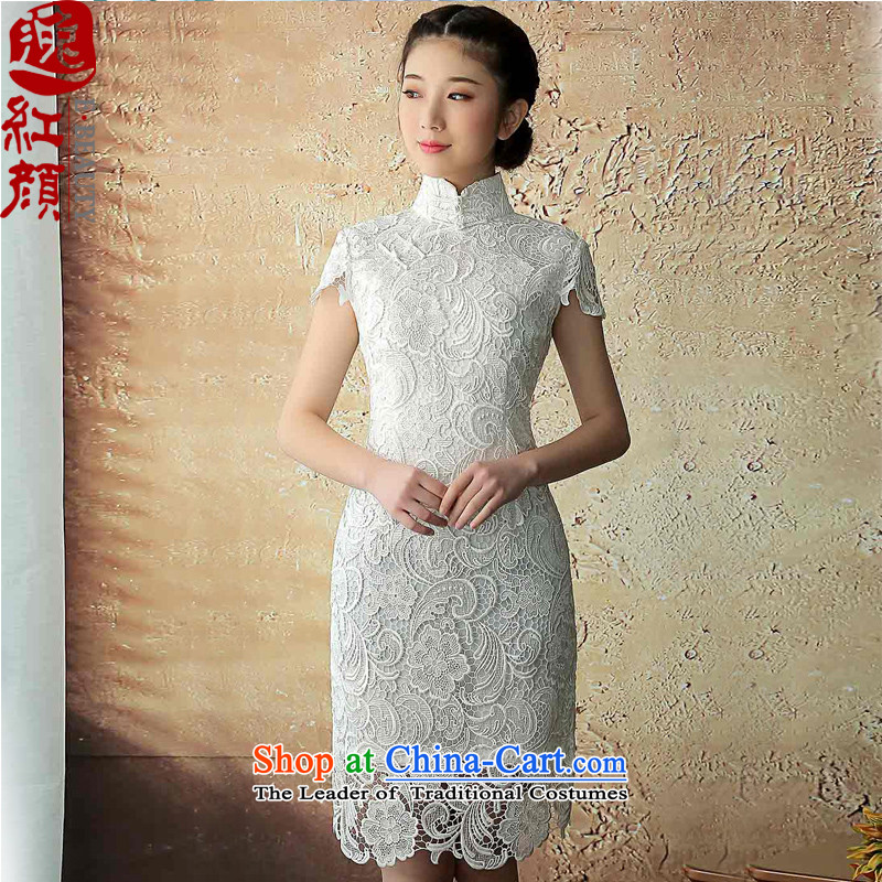 A Pinwheel Without Wind new qipao Yat-?summer 2015 daily improvement shadow retro cheongsam dress boutique lace Sau San dresses White?M