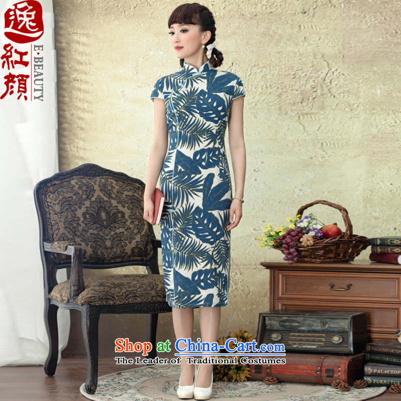 Lady Ho leaves Yat long skirt?2015 Summer new low on collar Sau San's stylish improved cheongsam dress Army Green?M