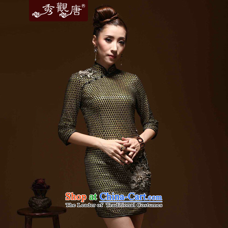 -Sau Kwun Tong- very spring 2015 in New cuff cheongsam look like improved retro Sau San Women's dresses brown燲L