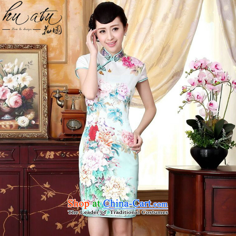 Figure for summer flowers bloomed Silk flower positioning Mudan Chinese collar poster Elastic satin herbs extract improved short qipao is Putin  2XL