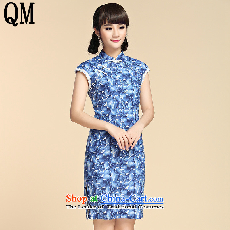 At the end of?summer 2015, shallow women's Mock-neck republic of korea wind Tang MOUNTING ANGLED badges of Sau San on short of arts van's cotton linen dresses?YXF1065?Blue?M