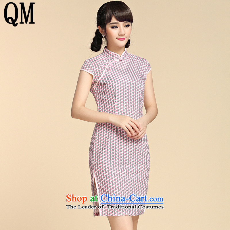 At the end of?summer 2015, shallow women of the Republic of Korea Air Tang MOUNTING ANGLED badges of Sau San arts van on sepia's short of cotton linen dresses?YXF1057?picture color?M
