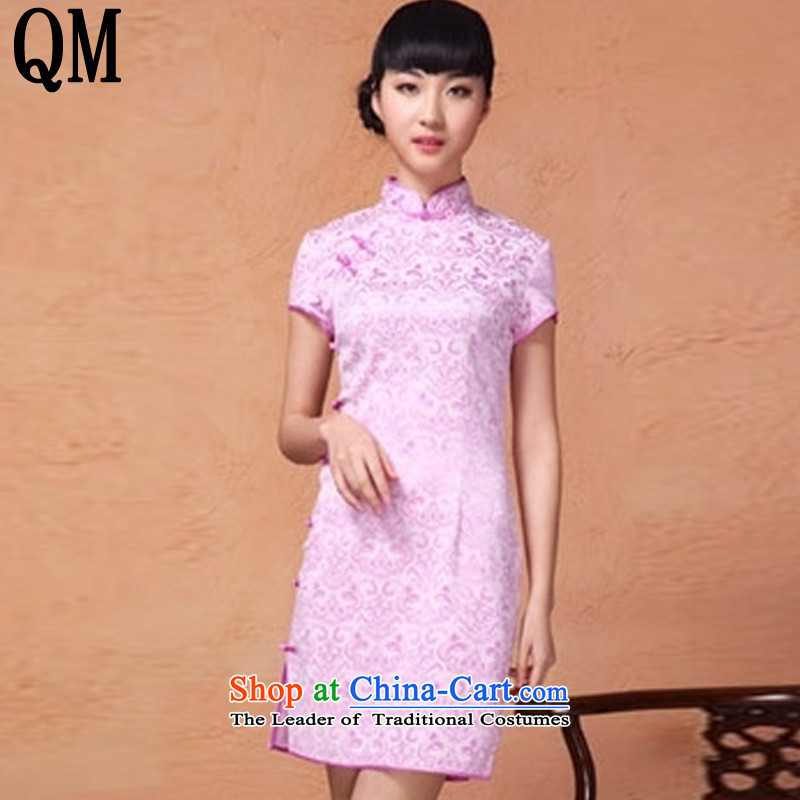 At the end of?summer 2015, the skirts of shallow retro improved collar disc is pressed to Sau San on the clip's short stylish jacquard cheongsam?YXF806?PURPLE?L