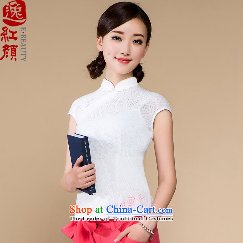 ? Yat lady- Gardenia Knitted Shirt improved Chinese qipao Tang Women's clothes Chinese Ethnic Wind white燣