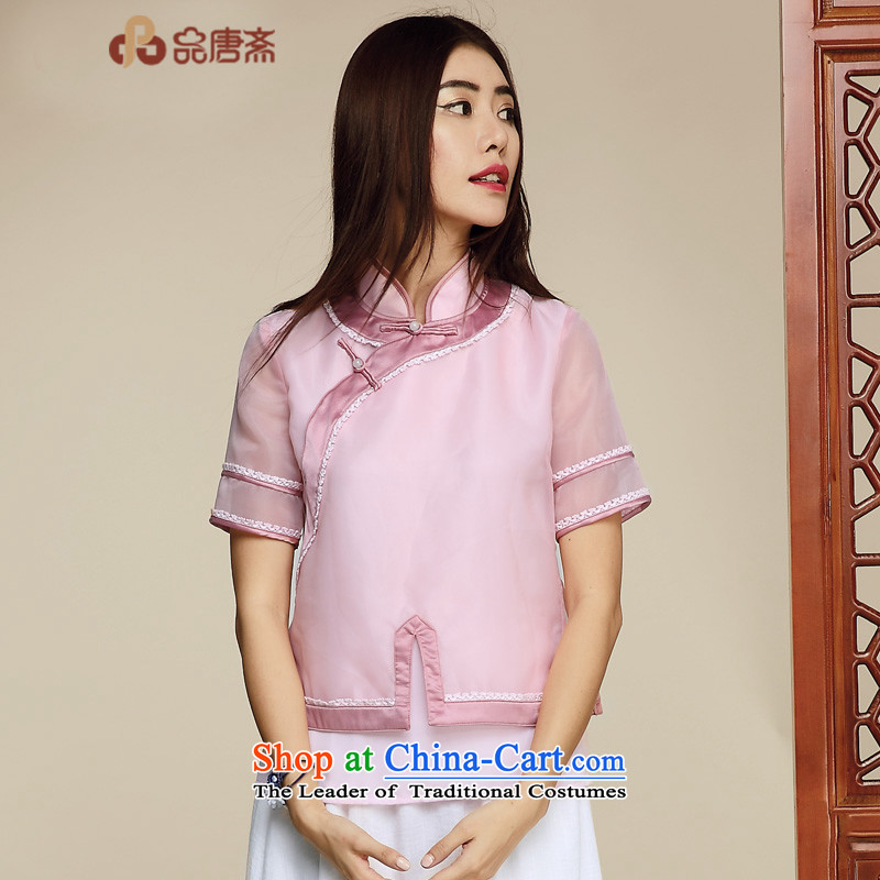 Tang Tang Dynasty Ramadan No. female national wind short-sleeved T-shirt pink dresses improved M