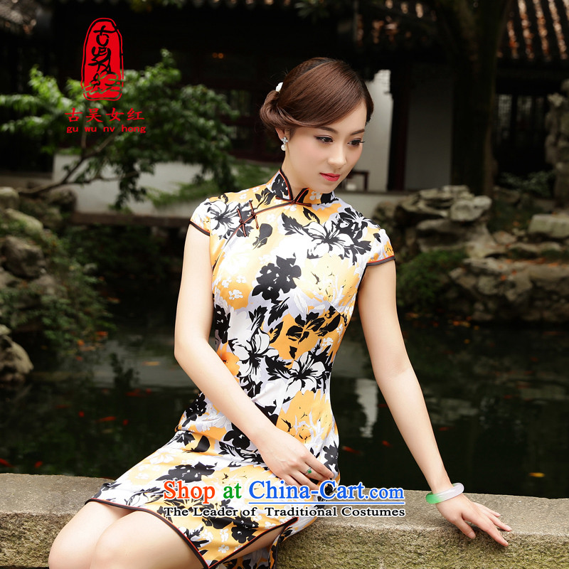 The Wu female red?2015 New Silk Cheongsam dress summer short of improved Sau San cheongsam dress orange elegant stamp?S