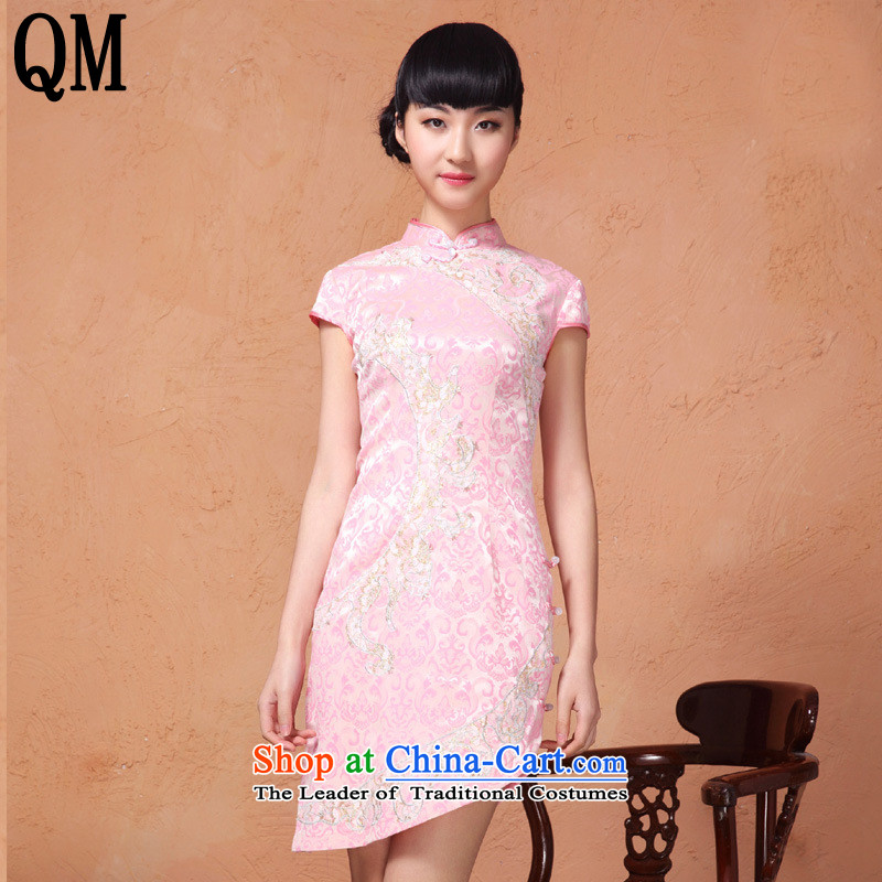 At the end of爏ummer 2015, shallow women cheongsam dress collar ramp up short-sleeved retro style with a     embroidery cheongsam燳XF837 female爌ink燲L