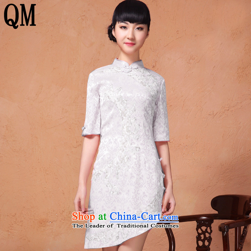 At the end of light skirt retro style qipao Mock-neck fifth cuff with a nail on the Pearl River Delta's embroidery cheongsam?YXF853 Sau San?White?XL