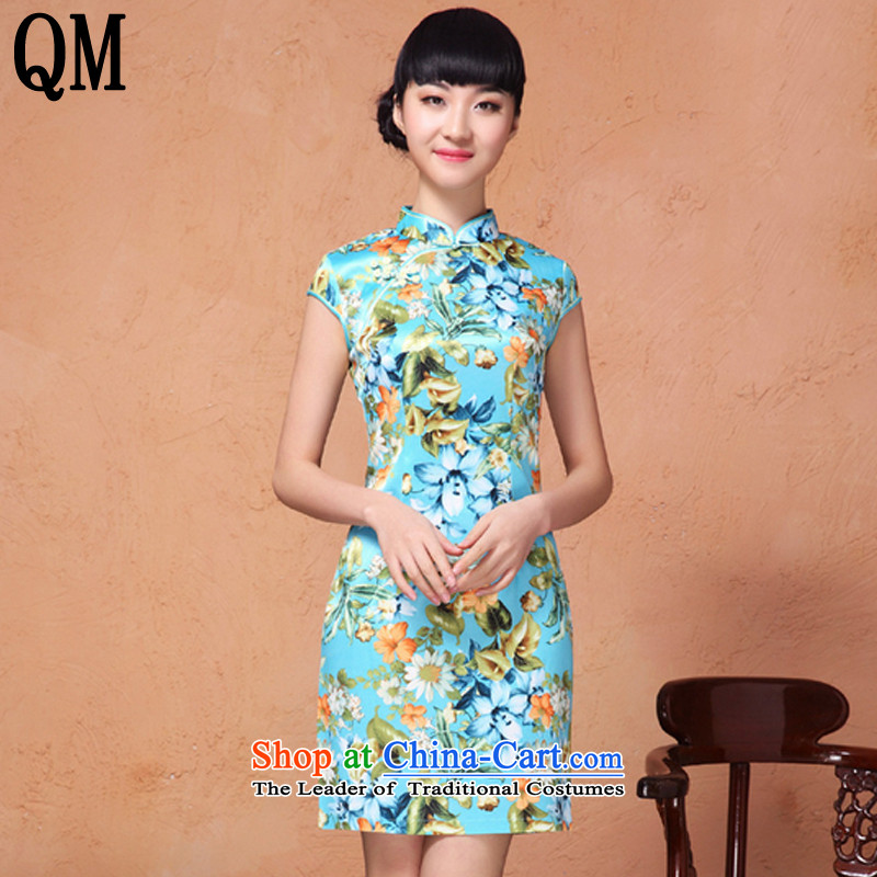 At the end of?summer 2015, shallow Mock-neck manually disc in Sau San long detained plain cotton flowers retro qipao?YXF001?GREEN?S