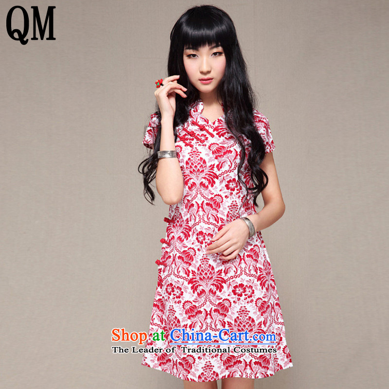 The end of the light of ethnic women cotton linen dresses and stylish package for 2015 cheongsam dress?suit 1 are code YXF005