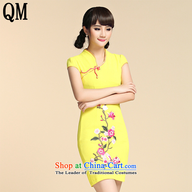 At the end of?summer 2015, the skirts of shallow improved Mock-neck Crescent disc is pressed to Sau San on the clip's short stylish embroidery cheongsam?YXF948?Yellow?XL