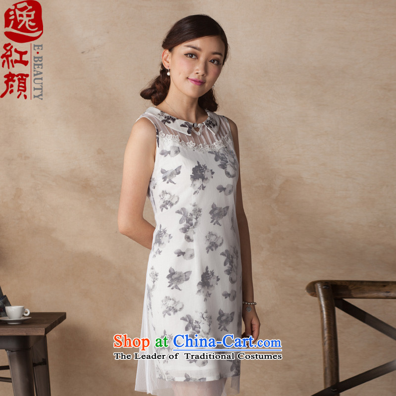 A Pinwheel Without Wind dust early Yat cotton Linen Dress Summer 2015 China wind Sau San sleeveless dresses white?L