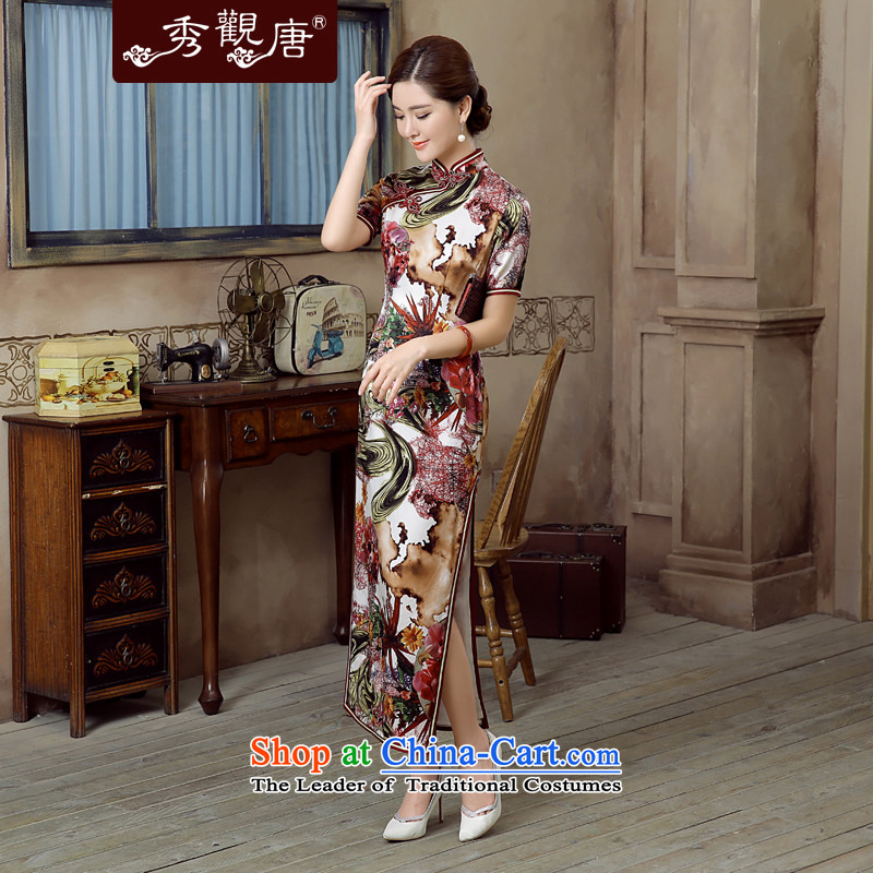 -Sau Kwun Tong--Yuk Ling 2015 Summer New Silk retro stamp herbs extract long dress suit?XXXL QD5618 Cheongsam