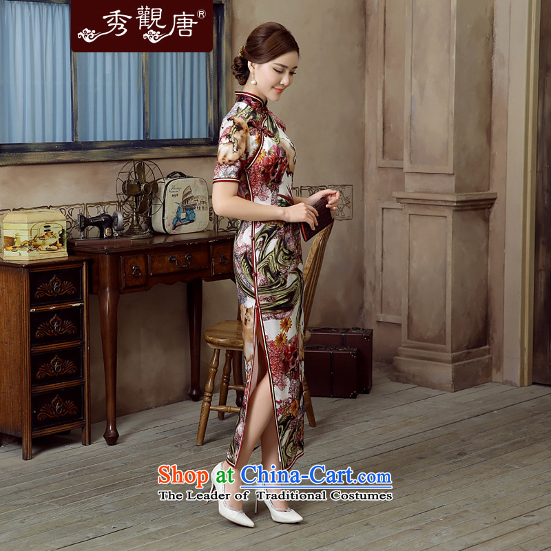 [Sau Kwun Tong]-Yuk Ling 2015 Summer New Silk retro stamp herbs extract long dress suit XXXL, QD5618 qipao Sau Kwun Tong shopping on the Internet has been pressed.