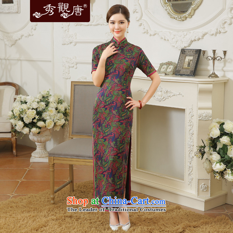 -Sau Kwun Tong- waterfront plaza Summer 2015 new upscale silk herbs extract long nightmare cheongsam dress QD5609 open XXXL Suit