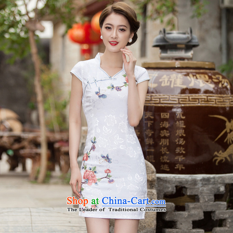 The spring and summer of 2014 new women's Chinese Tang dynasty improved Stylish retro China Daily Sau San cheongsam dress white燬