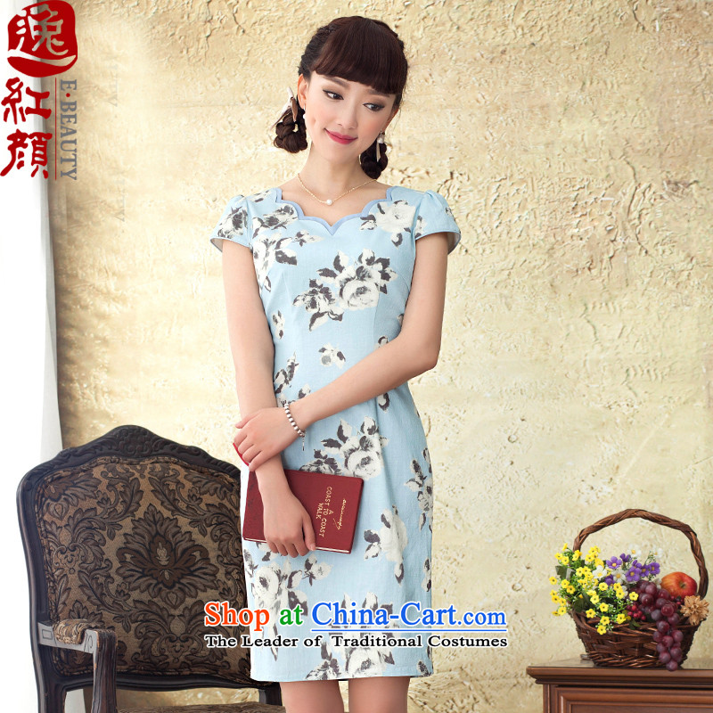 A Pinwheel Without Wind-Yuk Yat letter cotton linen dresses 2015 Summer retro Sau San cotton linen stamp cheongsam dress blue?2XL