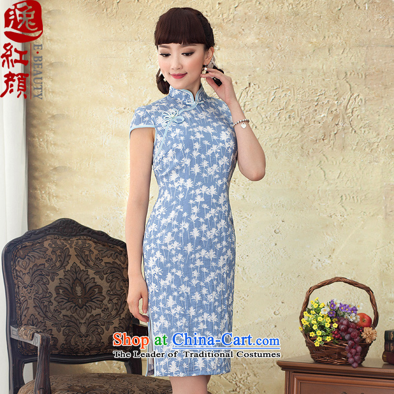 A Pinwheel Without Wind Yat Sweet Dreams燽y 2015 new improved summer qipao retro Sau San rayon stamp cheongsam dress blue燣