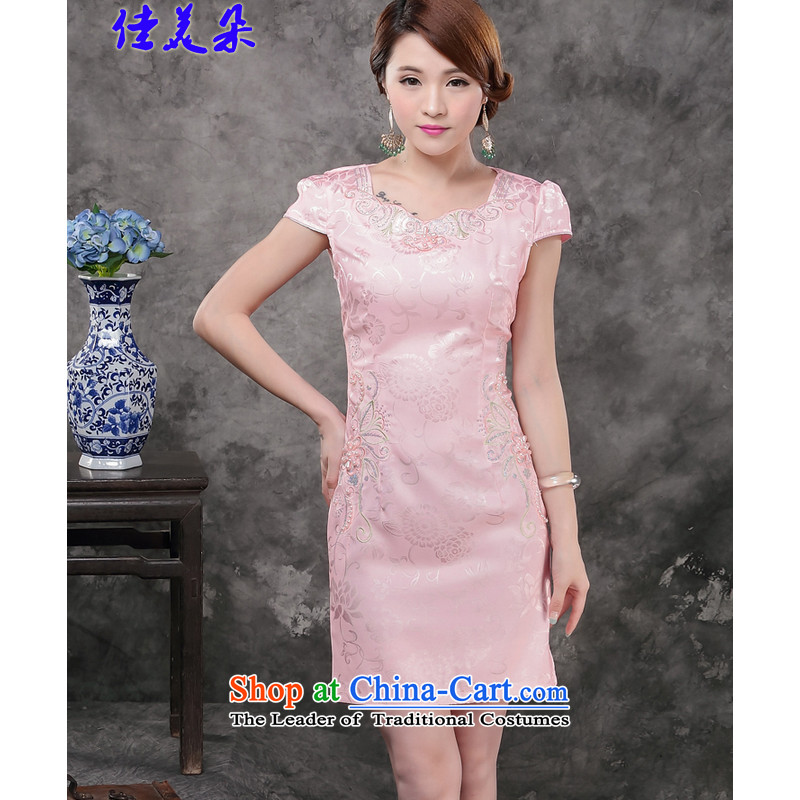 Jia Mei�  2015 new summer flower dresses improved daily Sau San Foutune of stylish short of qipao temperament 1802_ female pink燲L