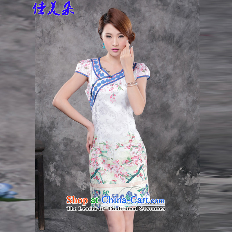 Jia Mei? 2015 Flower new summer and fall of replacing white cotton jacquard retro daily improved cheongsam dress temperament female 1805_ suit?XXSTOXL_
