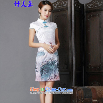Jia Mei 2015 new summer flower cheongsam dress daily female retro improved stylish summer short of Sau San silk cheongsam dress 5510 Black safflowerM picture, prices, brand platters! The elections are supplied in the national character of distribution, so action, buy now enjoy more preferential! As soon as possible.