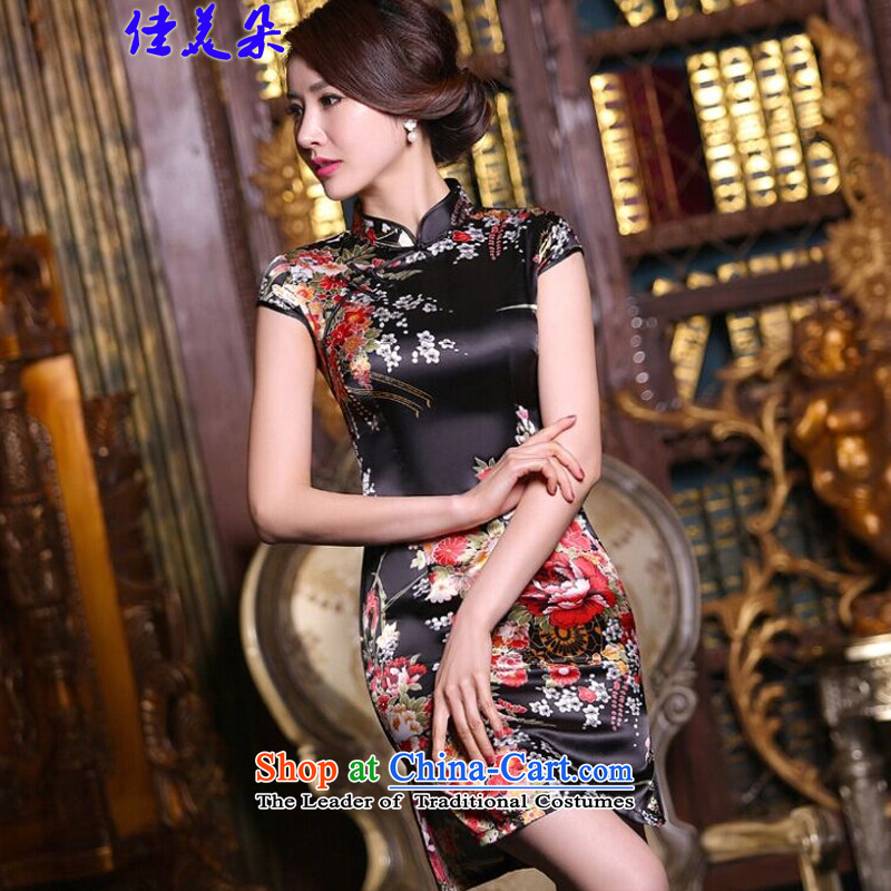 Jia Mei� 2015 new summer flower cheongsam dress daily female retro improved stylish summer short of Sau San silk cheongsam dress 5510 Black safflower�M
