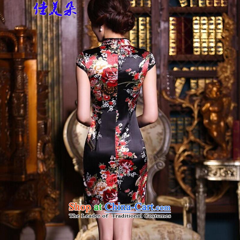 Jia Mei 2015 new summer flower cheongsam dress daily female retro improved stylish summer short of Sau San silk cheongsam dress 5510 Black safflowerM JIA MEI (JIA MEI DUO) , , , shopping on the Internet